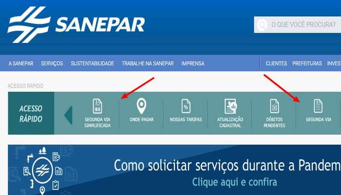 Emitir segunda via Sanepar pelo site