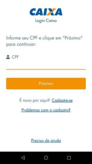 Tela de login cpf