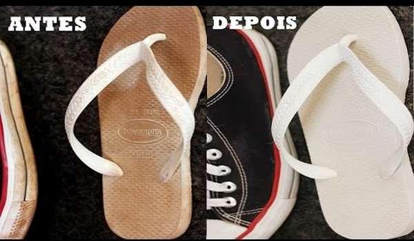 Como desencardir chinelos brancos e claros (Havaianas)