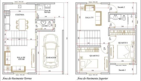Planta de 2 pisos com garagem e dois quartos