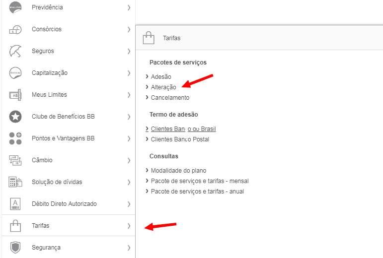 Alteração de plano de tarifas Banco do Brasil