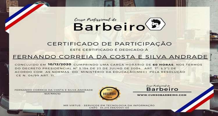 certificado curso de barbeiro profissional