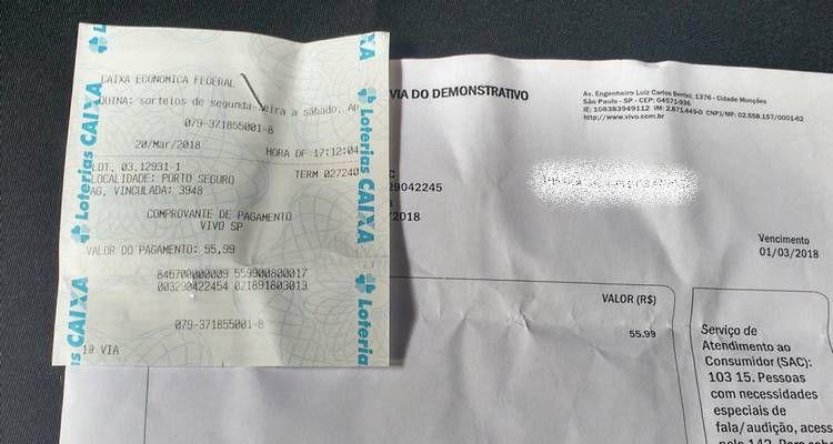 2 via do comprovante de pagamento loterica